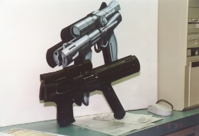Dlask Arms modified .44 Magnum Desert Eagle Pistol, but with a larger futuristic shell.