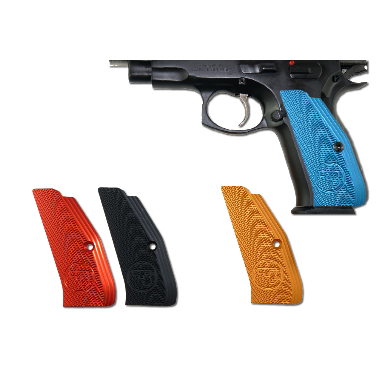 CZ Low Profile Grips, Blue anodized Aluminum