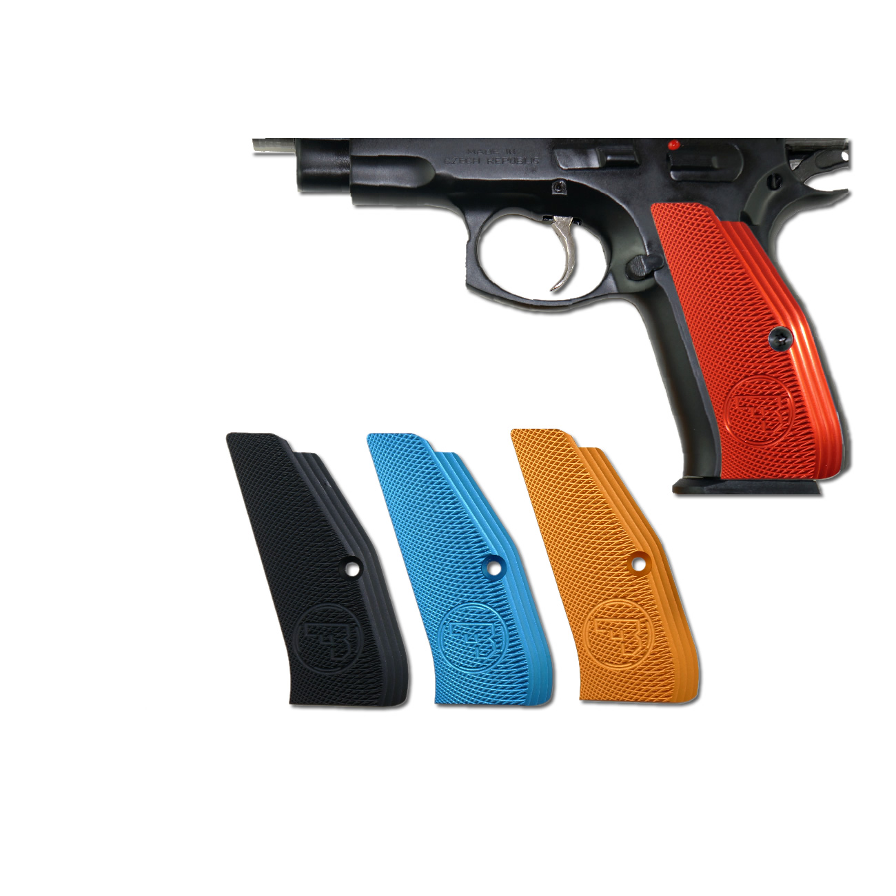 CZ Low Profile Grips, Red anodized Aluminum